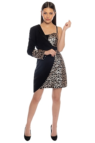 Black Sequins Bodycon Dress With Half Jacket by RS by Rippii Sethi
