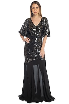 Black Sequins Mermaid Cut Gown by RS by Rippii Sethi