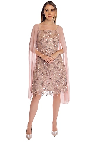 Salmon Pink Sequins Embroidered Dress by RS by Rippii Sethi
