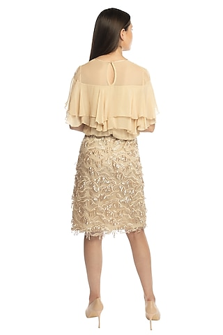 Beige Tassel Dress With Top by RS by Rippii Sethi