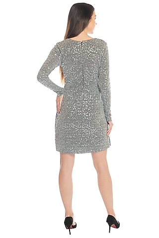 Silver Sequins Embellished Dress by RS by Rippii Sethi