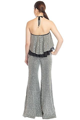Silver Shimmery Pant Set by RS by Rippii Sethi