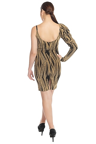 Gold Animal Print Dress by RS by Rippii Sethi