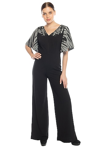 Black Embroidered Jumpsuit by RS by Rippii Sethi