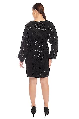 Black Sequins Embellished Midi Dress by RS by Rippii Sethi