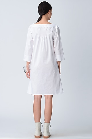 White Embroidered Anti Fit Dress by Rajesh Pratap Singh