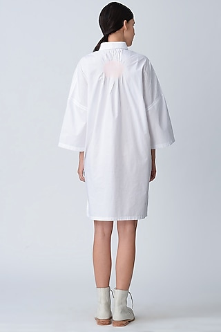 White Embroidered Tunic Dress by Rajesh Pratap Singh