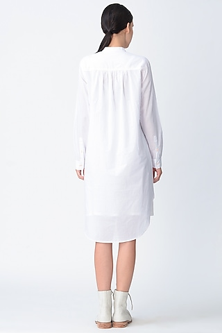 White Textured Tunic Dress by Rajesh Pratap Singh