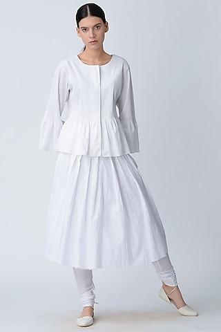 White Pleated Skirt by Rajesh Pratap Singh