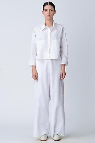 White Short Cotton Jacket by Rajesh Pratap Singh