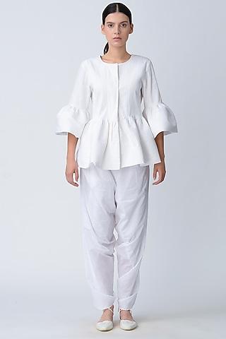 White Pleated Peplum Jacket by Rajesh Pratap Singh