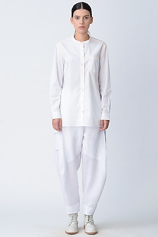 White Stitched Cotton Shirt by Rajesh Pratap Singh