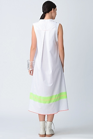 White Asymmetric Midi Dress by Rajesh Pratap Singh