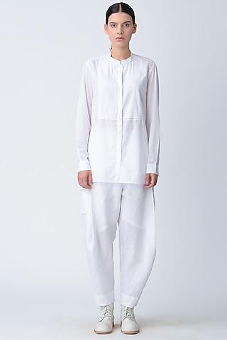 White Patch Pockets Salwar Pants by Rajesh Pratap Singh