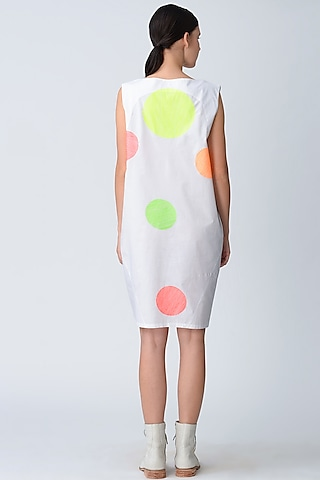 White Polka Dot Embroidered Cocoon Dress by Rajesh Pratap Singh