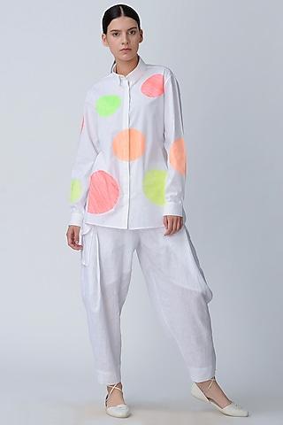 White Polka Dot Embroidered Top by Rajesh Pratap Singh