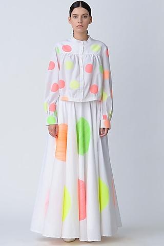 White Polka Dot Embroidered Skirt by Rajesh Pratap Singh
