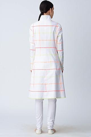 White Printed Long Jacket by Rajesh Pratap Singh