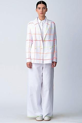 White Printed Short Jacket by Rajesh Pratap Singh