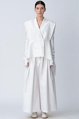 White Structured Cotton Jacket by Rajesh Pratap Singh