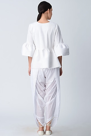 White Cotton Dhoti Pants by Rajesh Pratap Singh