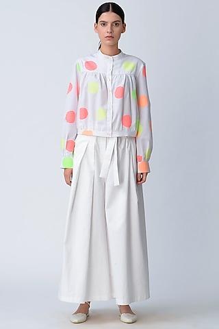 White Cotton Kimono Pants by Rajesh Pratap Singh