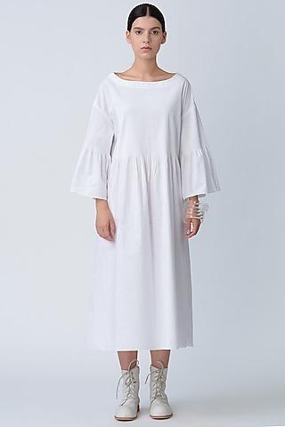 White Pintucked Anti Fit Dress by Rajesh Pratap Singh