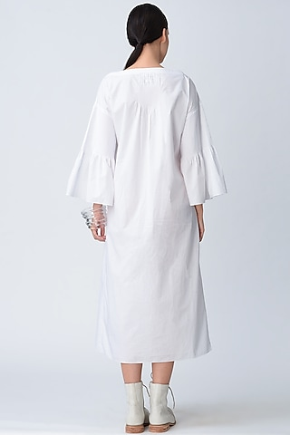 White Pintucked Anti Fit Dress by Rajesh Pratap Singh
