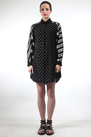 Black Ikat Print Dress by Rajesh Pratap Singh