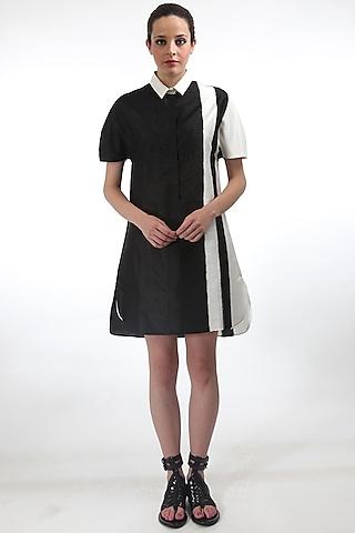 Black Ikat Striped Dress by Rajesh Pratap Singh