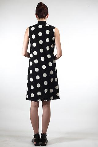 Black Sleeveless Polka Dot Dress by Rajesh Pratap Singh