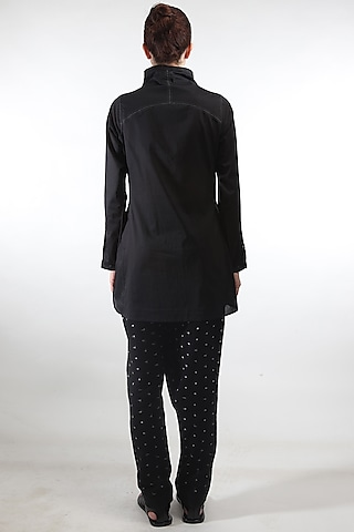Black Overlapped Pants by Rajesh Pratap Singh