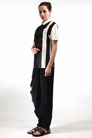 Black & White Collared Shirt  by Rajesh Pratap Singh
