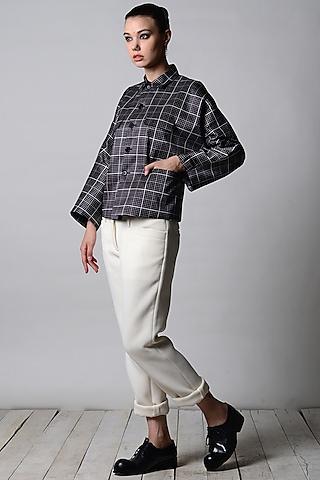 Black & White Graph Printed Jacket by Rajesh Pratap Singh