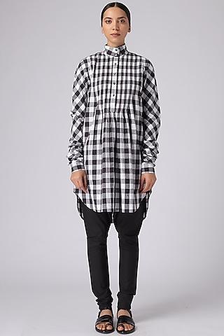 Black & White Checkered Tunic by Rajesh Pratap Singh