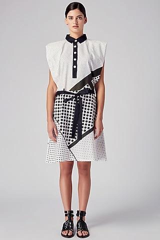 Black & White Cotton Printed Dress by Rajesh Pratap Singh