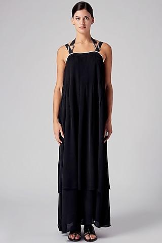 Black Georgette Dress by Rajesh Pratap Singh