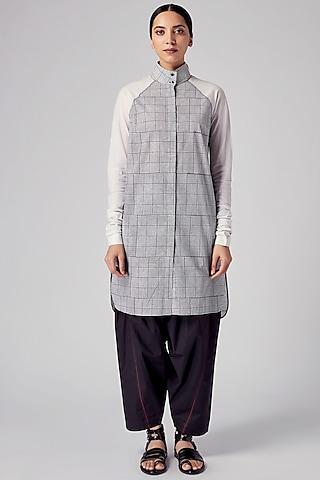 Black & White Checkered Tunic With Raglan Sleeves by Rajesh Pratap Singh