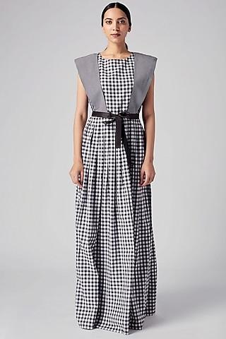 Black & White Checkered Maxi Dress by Rajesh Pratap Singh