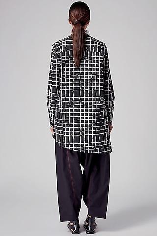 Black & White Checkered Asymmetrical Tunic by Rajesh Pratap Singh