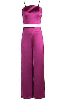 Magenta Pink Crop Top With Pants by RS by Rippii Sethi