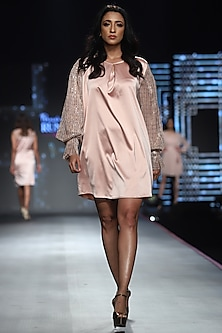 Pink Metallic Shift Dress by RS by Rippii Sethi