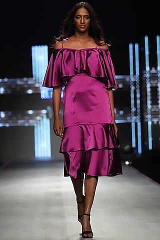 Magenta Pink Frilled Cape Gown by RS by Rippii Sethi