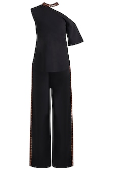 Black Embellished Top With Pants by RS by Rippii Sethi