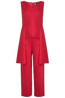 Red Side Draped Top With Pants by RS by Rippii Sethi