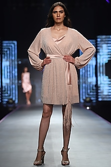 Pink Lurex Slip Dress With Belt by RS by Rippii Sethi