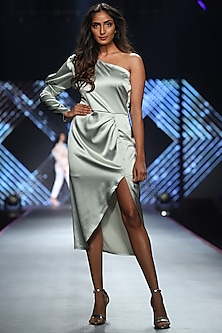 Mint Green Satin One Shoulder Dress by RS by Rippii Sethi