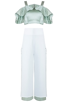 Mint Green Crop Top With Culotte Pants by RS by Rippii Sethi