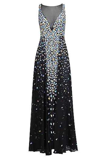 Black Applique Work Sleeveless Flared Gown by RS by Rippii Sethi
