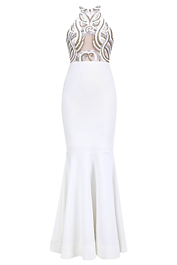 White, Gold and Silver Applique Work Fish Cut Gown by RS by Rippii Sethi
